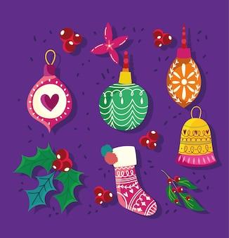Gelukkig nieuwjaar, veel dingen kerstversiering omvatten ballen bloem sok iconen set