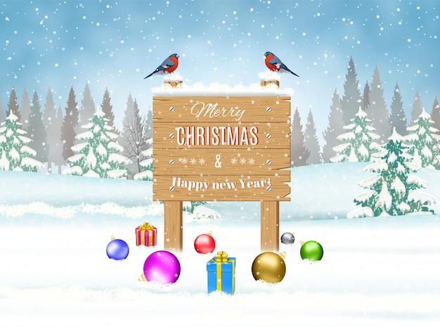 Gelukkig nieuwjaar viering, kerst landschap, winter achtergrondontwerp, houten bord en ballen, wenskaartsjabloon. vector illustratie