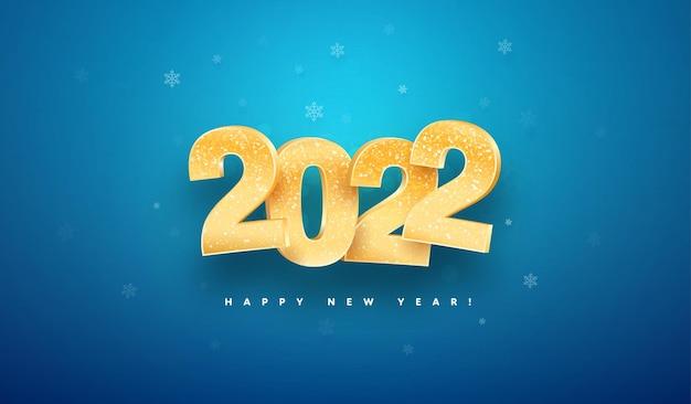 Gelukkig nieuwjaar viering vector illustratie gouden geïsoleerde kerst nummers op blauwe achtergrond
