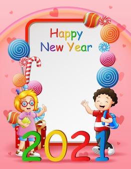 Gelukkig nieuwjaar wenskaart illustratie