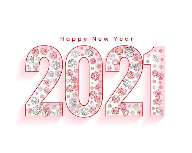 Gelukkig nieuwjaar wenskaart met 2021 nummers gemaakt met sneeuwvlokken