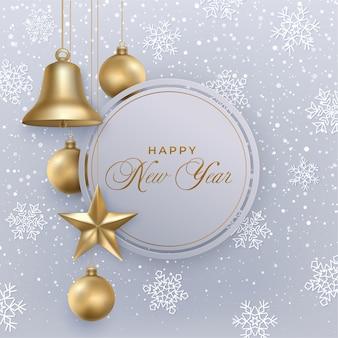 Gelukkig nieuwjaar wenskaart met bel, ster, ballen. gouden kerstversiering, sneeuw, sneeuwvlokken