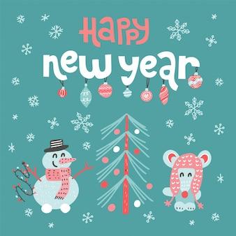 Gelukkig nieuwjaar wenskaart met belettering citaat. leuke muis versieren kerstboom en sneeuwpop.
