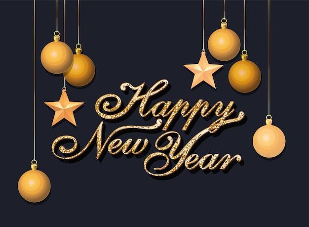 Gelukkig nieuwjaar wenskaart met glanzende gouden letters op zwart