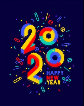 , gelukkig nieuwjaar. wenskaart met inscriptie happy new year. geometrische heldere stijl voor gelukkig nieuwjaar of merry christmas. vakantie achtergrond, poster. illustratie