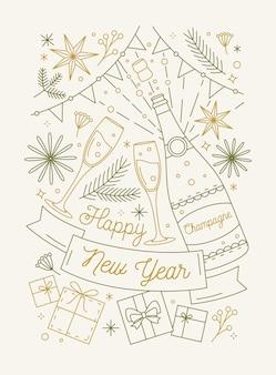 Gelukkig nieuwjaar wenskaartsjabloon met fles mousserende wijn en glazen