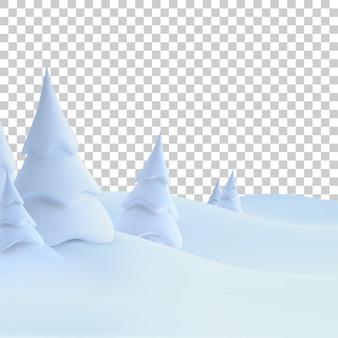 Gelukkig nieuwjaar. wintervakantie landschap met sneeuwbanken en besneeuwde sparren.
