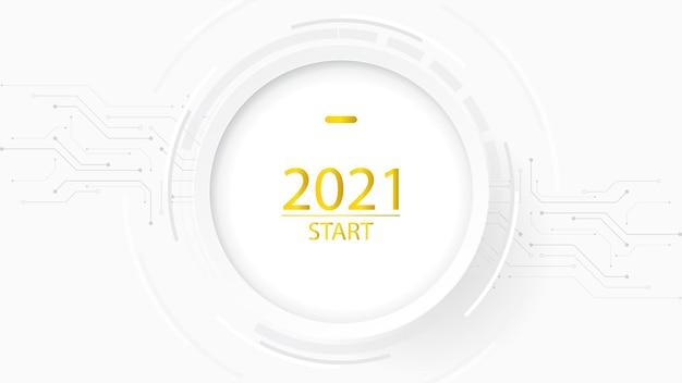 Gelukkig nieuwjaar witte tekst achtergrond technologie concept