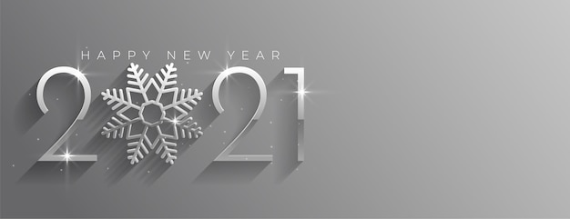 Gelukkig nieuwjaar zilveren glanzende banner met sneeuwvlok