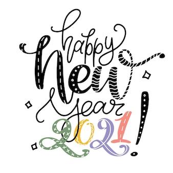 Gelukkig nieuwjaar zin door handen. grappige nieuwjaar wenskaart. handschriftafdruk met verschillende kleuren letters en cijfers.