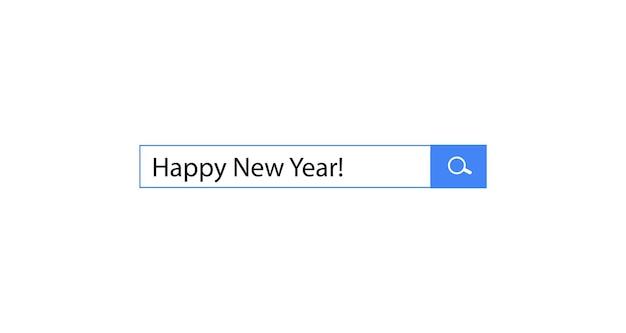 Gelukkig nieuwjaar zoekopdracht in zoekbalk voor creatief browserontwerp voor feest en seizoen