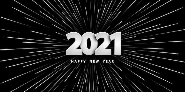 Gelukkig nieuwjaar zwarte achtergrond met cijfers en lichtsnelheidsstralen