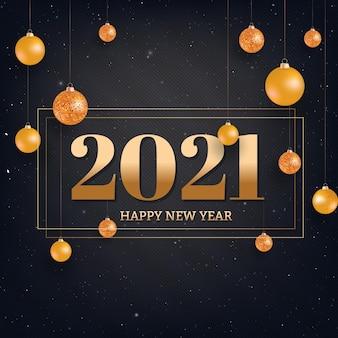 Gelukkig nieuwjaar zwarte achtergrond met gouden kerstballen