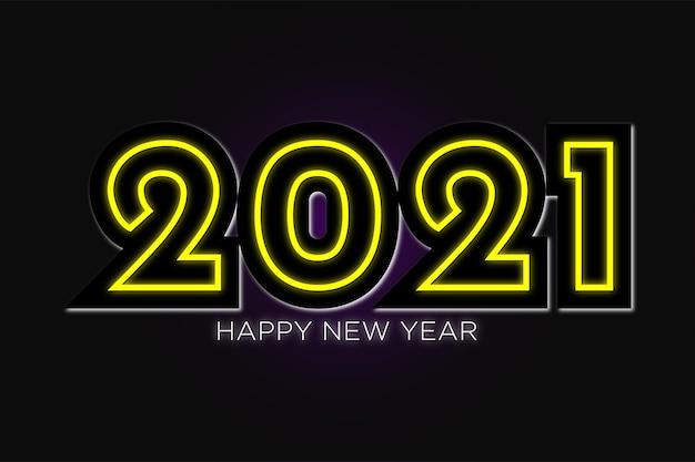 Gelukkig nieuwjaarbehang in neonontwerp premium vector