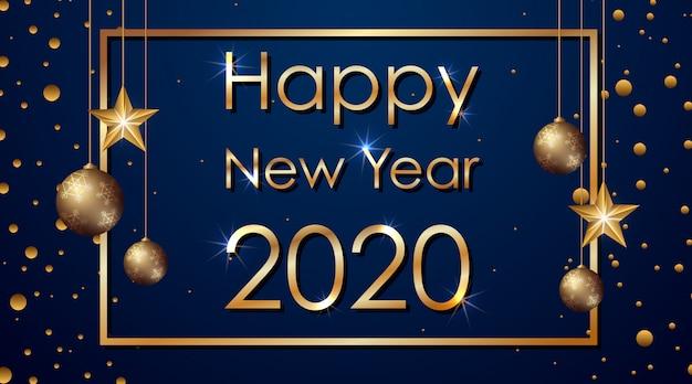 Gelukkig nieuwjaarsbanner voor 2020