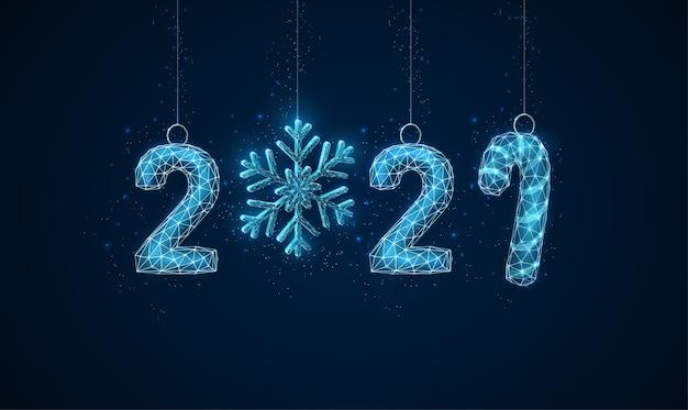 Gelukkig nieuwjaarsgroet met kerstmisspeelgoed laag polystijlontwerp abstracte geometrische achtergrond. lichte verbindingsstructuur van draadframe. modern concept. geïsoleerd