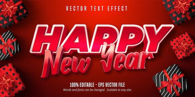 Gelukkig nieuwjaarstekst, bewerkbaar teksteffect in rode kleur