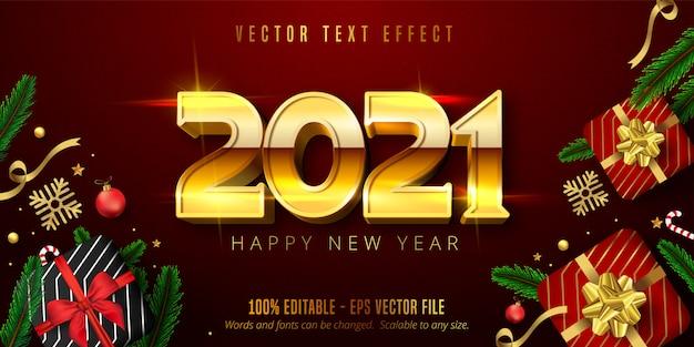Gelukkig nieuwjaarstekst, glanzend goud bewerkbaar teksteffect in kerststijl