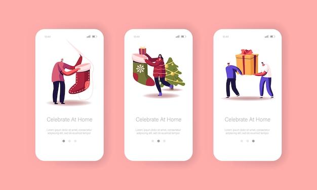 Gelukkig nieuwjaarsviering mobiele app-pagina onboard-schermsjabloon