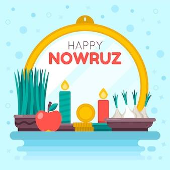 Gelukkig nowruz iraanse evenement vlakke afbeelding