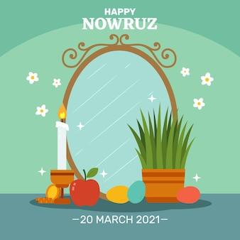Gelukkig nowruz viering platte ontwerp illustratie