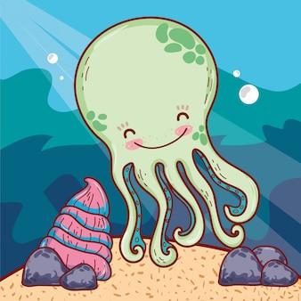 Gelukkig octopus zeedier met shell