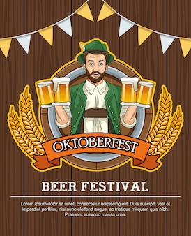 Gelukkig oktoberfest vieringskaart met duitse man bier drinken op houten achtergrond