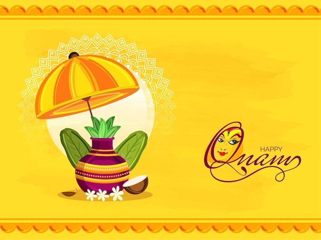 Gelukkig onam celebration concept met aanbidding pot (kalash), bananenbladeren, kokos en paraplu op gele achtergrond.
