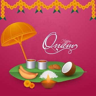 Gelukkig onam celebration concept met sadhya maaltijd, olielamp (diya) en maveli olakkuda (paraplu) op roze achtergrond.