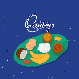 Gelukkig onam celebration poster design met bovenaanzicht van sadhya menu (eten) op blauwe achtergrond. Premium Vector