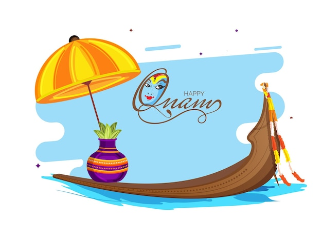 Gelukkig onam-lettertype met kathakali-dansergezicht, paraplu, worship pot (kalash), vallam kali (snake boat) op blauwe en witte achtergrond.