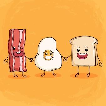Gelukkig ontbijt illustratie met schattige spek gebakken eieren en brood