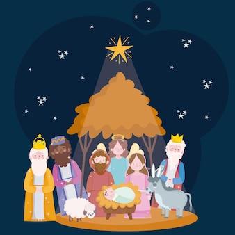 Gelukkig openbaring, drie wijze koningen heilige familie en engel