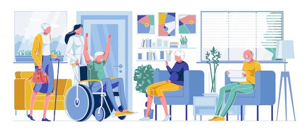 Gelukkig oude gehandicapte man, oude mensen in de rij staan voor dokter