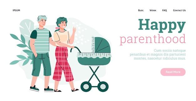 Gelukkig ouderschap website met paar wandelen met baby platte vectorillustratie