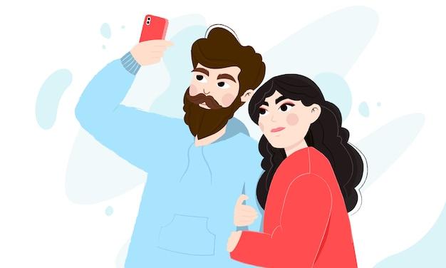 Gelukkig paar dat een selfie doet. jonge man en vrouw die foto van zich nemen