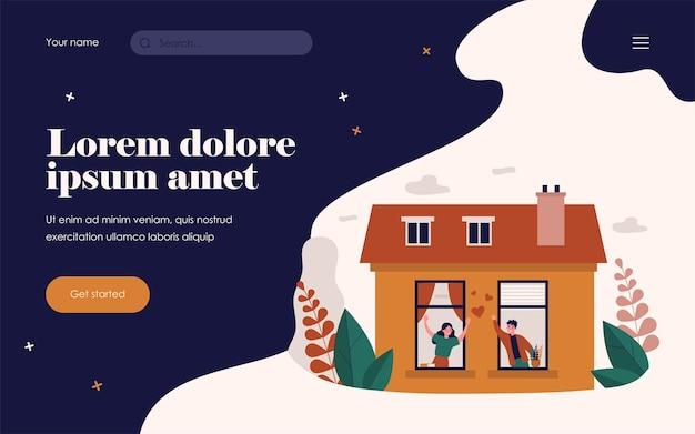 Gelukkig paar dat in de buurt van ramen staat en praat. liefde, huis, appartement platte vectorillustratie. relatie- en buurtconcept voor banner, websiteontwerp of bestemmingswebpagina