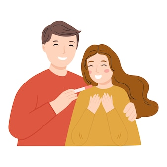 Gelukkig paar dat resultaten van een zwangerschap te weten komt
