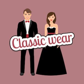 Gelukkig paar in donkere klassieke kostuums