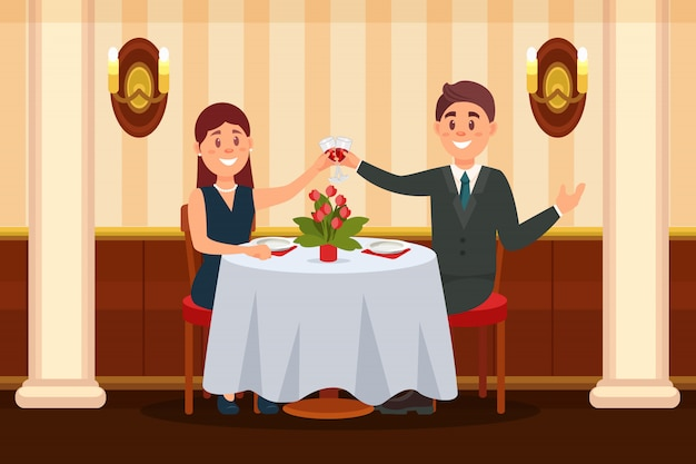Gelukkig paar in liefde die in het restaurant zitten en wijnilustration drinken