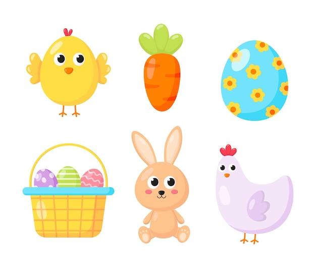Gelukkig paasdag ingesteld. stripfiguur konijnen en kuikens geïsoleerd.