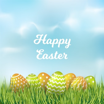 Gelukkig paasdag wazig ontwerp met eieren