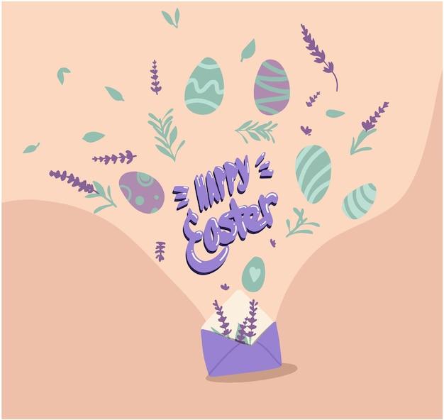 Gelukkig paaskaart met eieren, lavendel en belettering. kleurrijke achtergrond. affiche, afdrukbanner. het versieren van eieren vloeien voort uit de envelop.