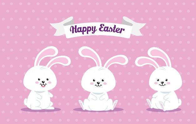 Gelukkig paaskaart met konijnen