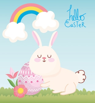 Gelukkig paaskaart, schattig konijn met bloemen en ei decoratie