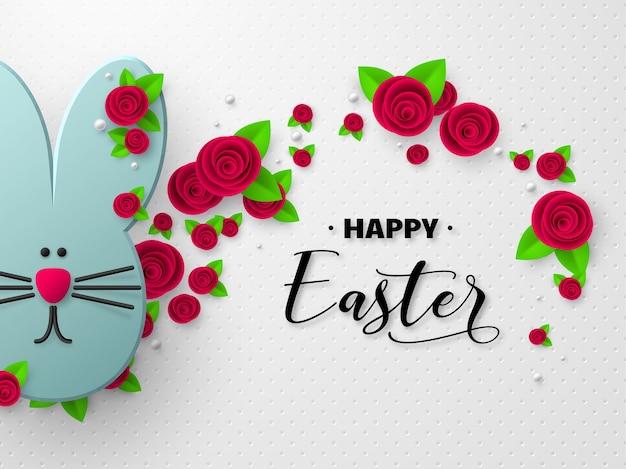 Gelukkig paasvakantie ontwerp. 3d-papier gesneden konijn versierd bloemen.