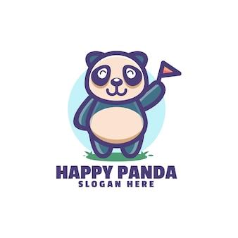 Gelukkig panda-logo op wit wordt geïsoleerd