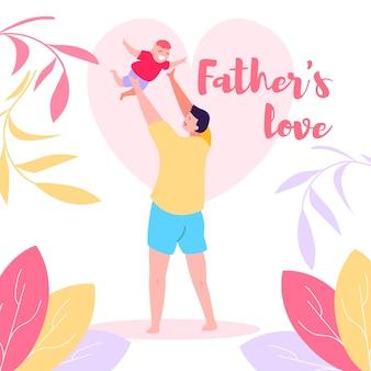 Gelukkig papa gooien vrolijke vreugdevolle babyjongen