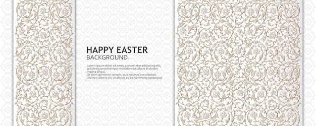 Gelukkig pasen achtergrond met arabesque bloemmotief goed ontwerpsjabloon