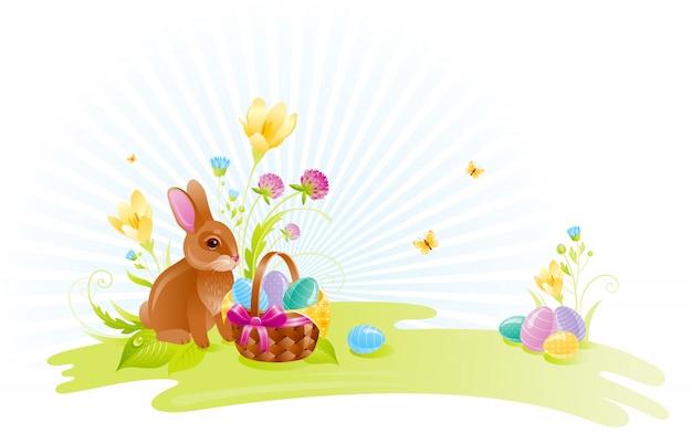 Gelukkig pasen-beeldverhaal met eieren, leuk konijntje en mand.